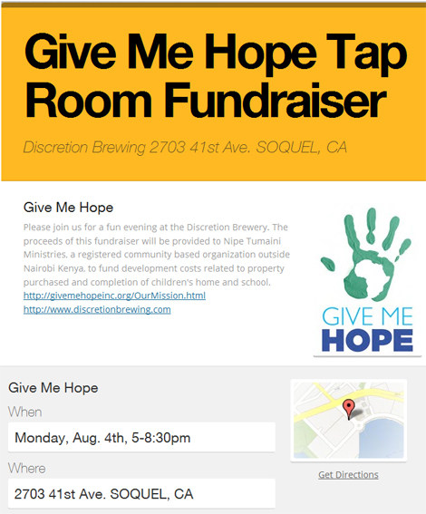 Flyer for TapRoom Funraiser